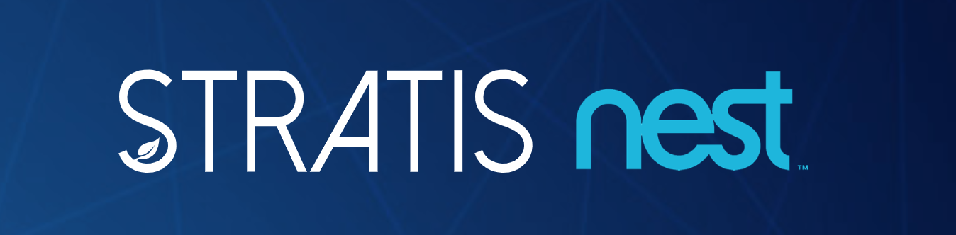 Blue background with STRATIS and Nest logo overlayed