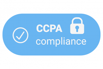 "Light blue oval with white text in the middle that says ""CCPA compliance"" with a checkmark and lock icons on either side"