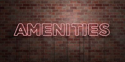 """Neon """"Amenities"""" sign in front of a brick wall"""