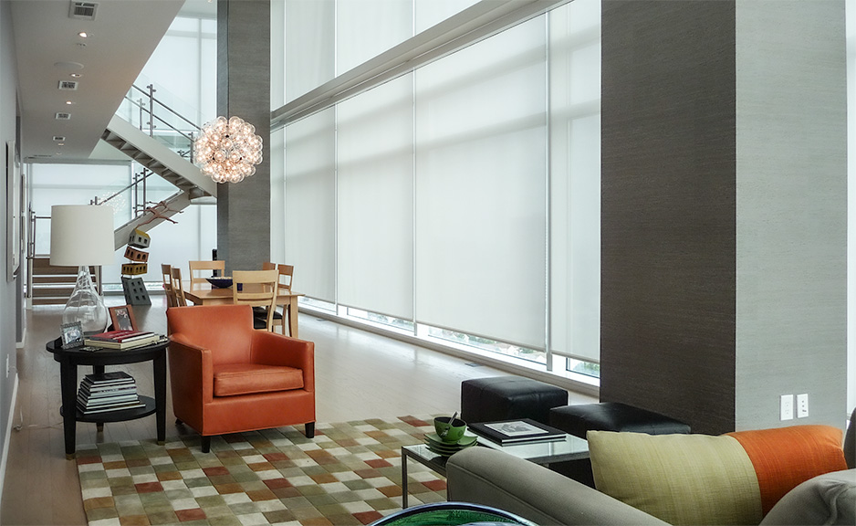 Lutron smart shades drawn in an apartment unit