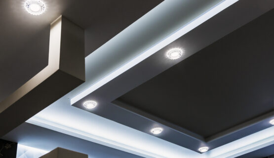 suspended ceiling and drywall construction in the decoration of the apartment