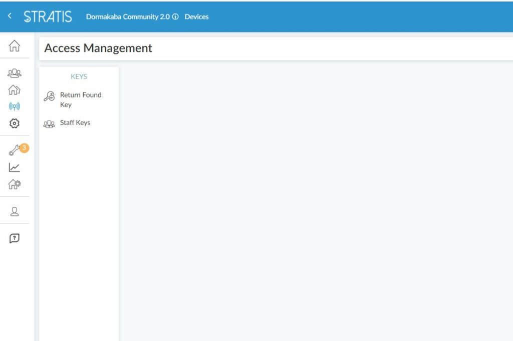 """STRATIS Management App screenshot of Dormakaba Community 2.0 Page for Access Management. The """"Keys"""" Section has the options to click on """"Return Found Key"""" or """"Staff Keys"""""""